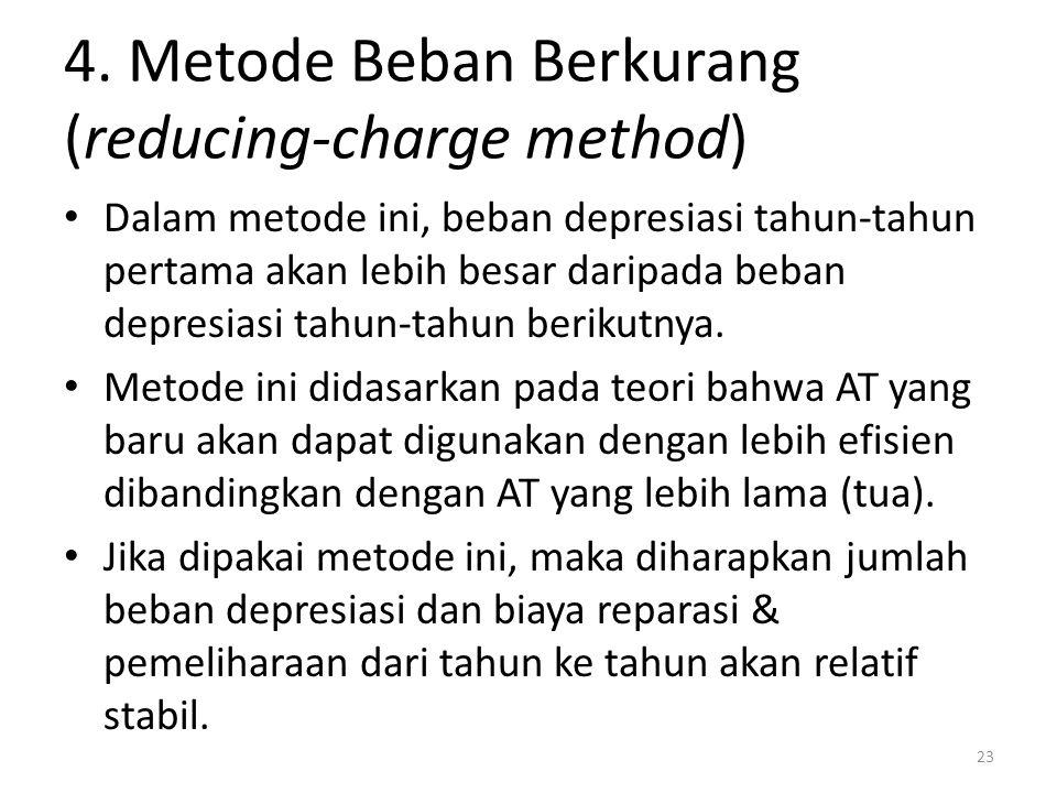 4. Metode Beban Berkurang (reducing-charge method) Dalam metode ini, beban depresiasi tahun-tahun pertama akan lebih besar daripada beban depresiasi t