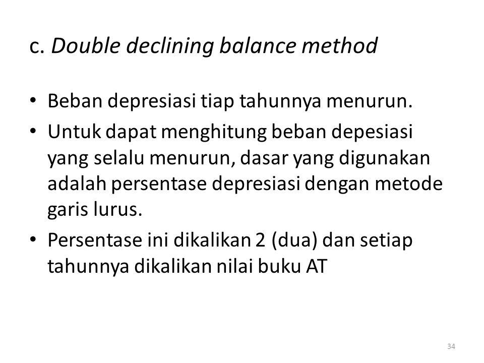 c. Double declining balance method Beban depresiasi tiap tahunnya menurun. Untuk dapat menghitung beban depesiasi yang selalu menurun, dasar yang digu