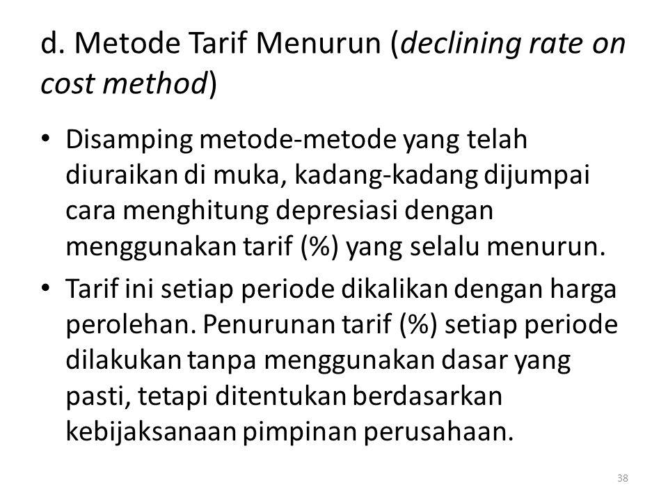 d. Metode Tarif Menurun (declining rate on cost method) Disamping metode-metode yang telah diuraikan di muka, kadang-kadang dijumpai cara menghitung d