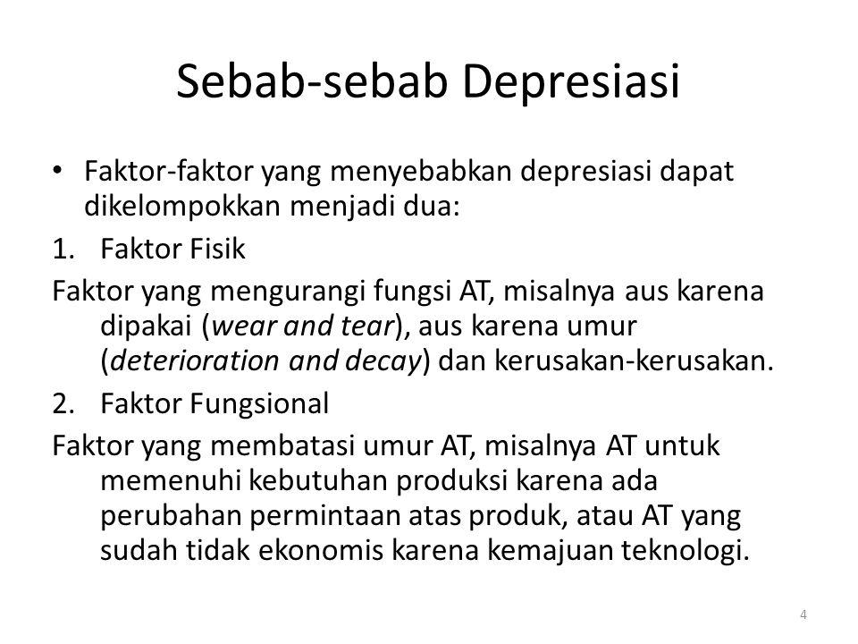Faktor-faktor yang Menentukan Biaya Depresiasi Ada tiga faktor: 1.Harga perolehan (cost) 2.Nilai residu Nilai sisa suatu AT yang didepresiasi adalah jumlah yang diterima bila AT tersebut dijual, ditukarkan atau cara-cara lain ketika AT tersebut sudah tidak dapat digunakan lagi, dikurangi dengan biaya yang terjadi saat menjual/menukarkan.