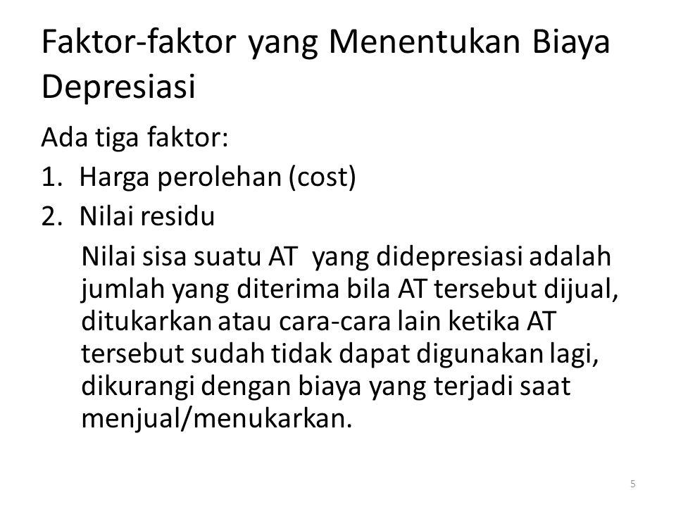 Faktor-faktor yang Menentukan Biaya Depresiasi Ada tiga faktor: 1.Harga perolehan (cost) 2.Nilai residu Nilai sisa suatu AT yang didepresiasi adalah j