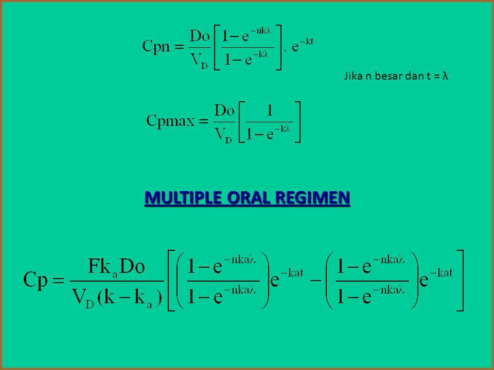 MULTIPLE ORAL REGIMEN Jika n besar dan t = λ