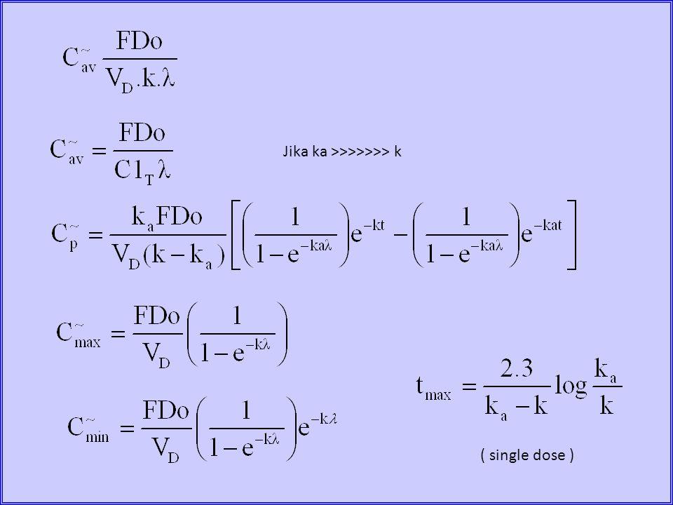 ( single dose ) Jika ka >>>>>>> k