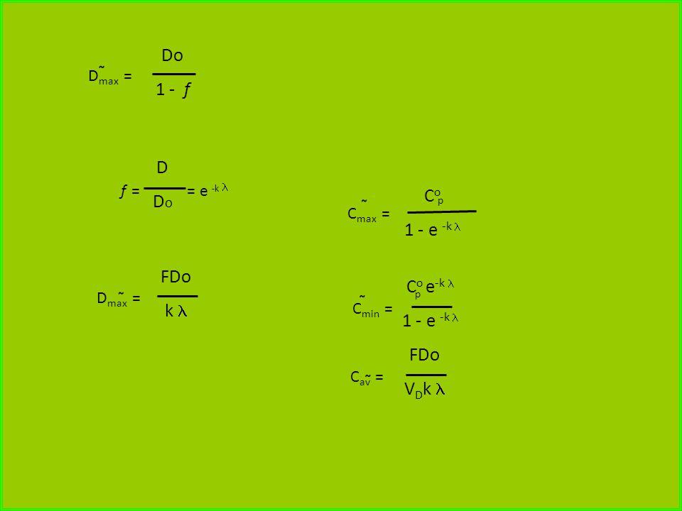 D max = Do 1 - f D max = FDo k f = = e -k DDoDDo C max = C o 1 - e -k C min = C o e -k 1 - e -k C av = FDo V D k p p ~ ~ ~ ~ ~