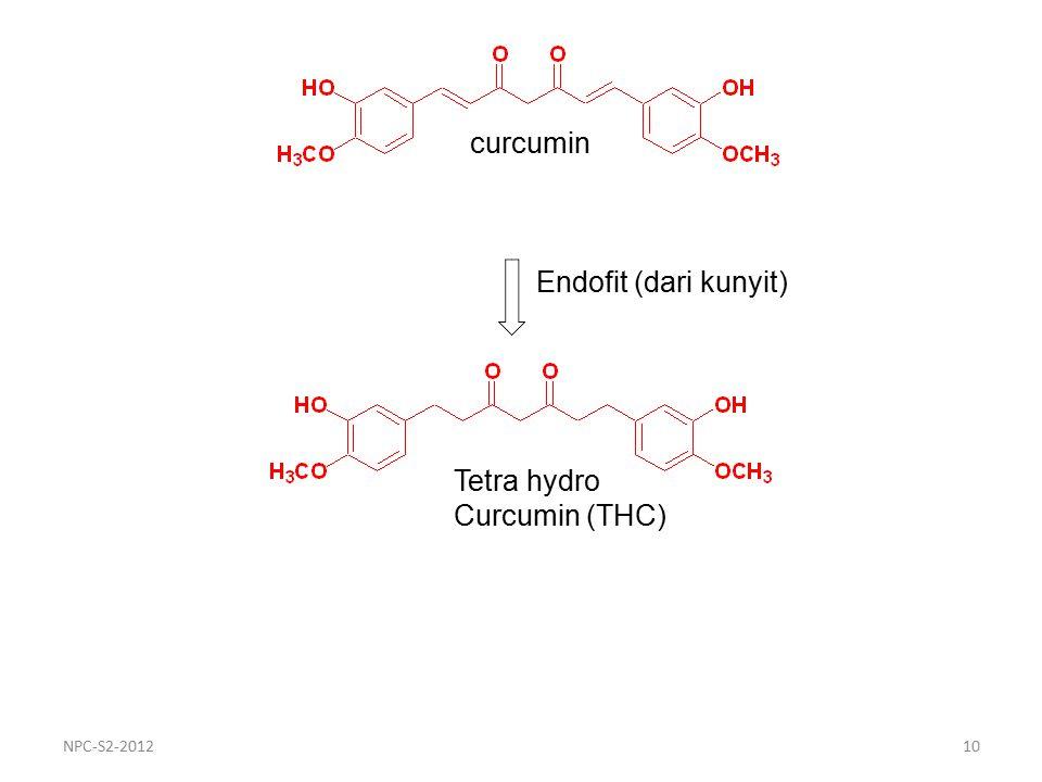 Endofit (dari kunyit) curcumin Tetra hydro Curcumin (THC) 10NPC-S2-2012
