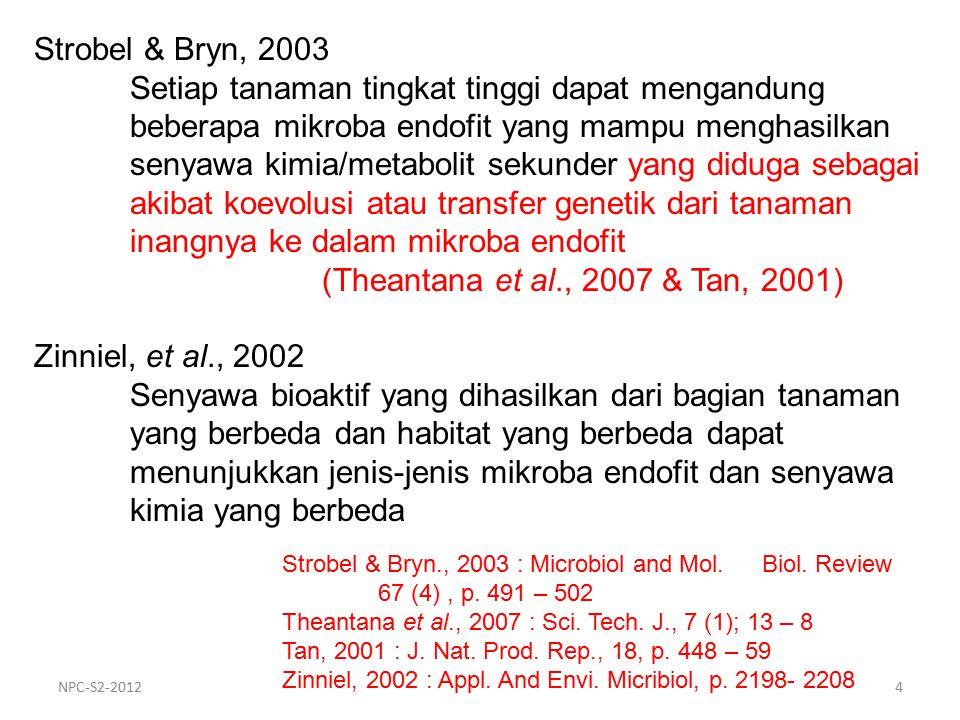 Strobel & Bryn, 2003 Setiap tanaman tingkat tinggi dapat mengandung beberapa mikroba endofit yang mampu menghasilkan senyawa kimia/metabolit sekunder yang diduga sebagai akibat koevolusi atau transfer genetik dari tanaman inangnya ke dalam mikroba endofit (Theantana et al., 2007 & Tan, 2001) Zinniel, et al., 2002 Senyawa bioaktif yang dihasilkan dari bagian tanaman yang berbeda dan habitat yang berbeda dapat menunjukkan jenis-jenis mikroba endofit dan senyawa kimia yang berbeda Strobel & Bryn., 2003 : Microbiol and Mol.
