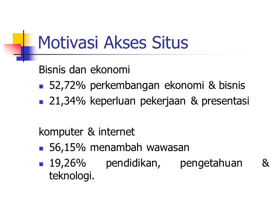 Motivasi Akses Situs Bisnis dan ekonomi 52,72% perkembangan ekonomi & bisnis 21,34% keperluan pekerjaan & presentasi komputer & internet 56,15% menamb