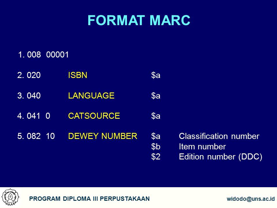 FORMAT MARC PROGRAM DIPLOMA III PERPUSTAKAAN widodo@uns.ac.id 1.