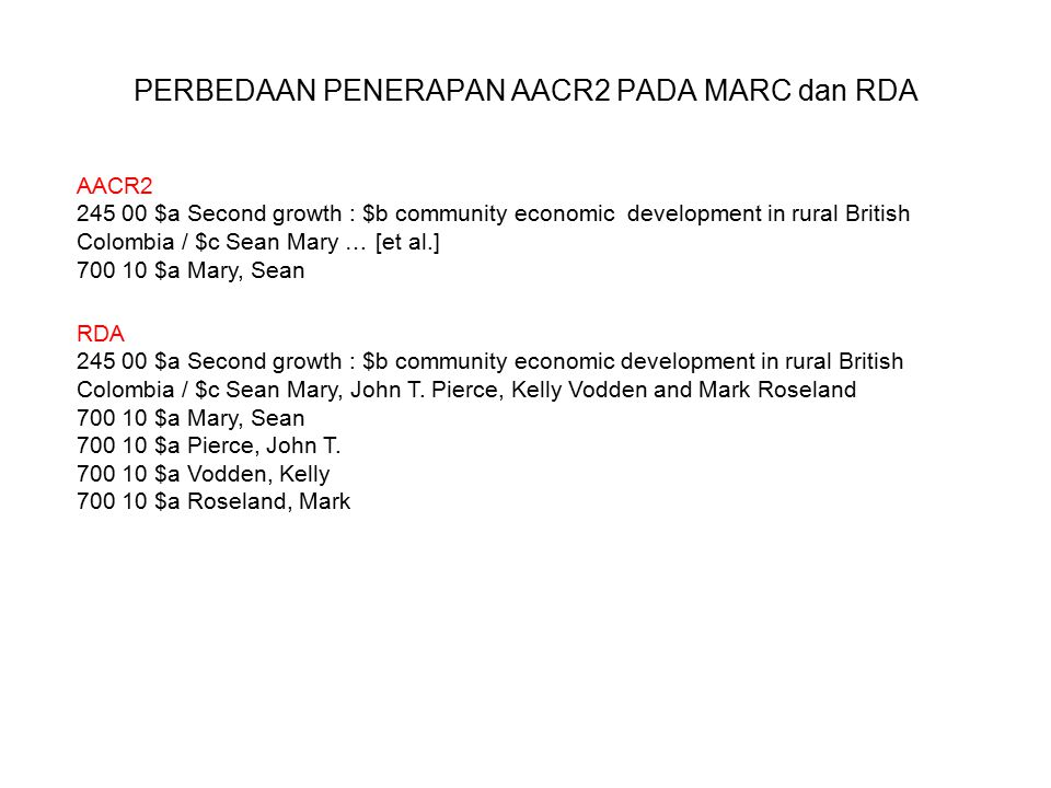 PERBEDAAN PENERAPAN AACR2 PADA MARC dan RDA AACR2 245 00 $a Second growth : $b community economic development in rural British Colombia / $c Sean Mary