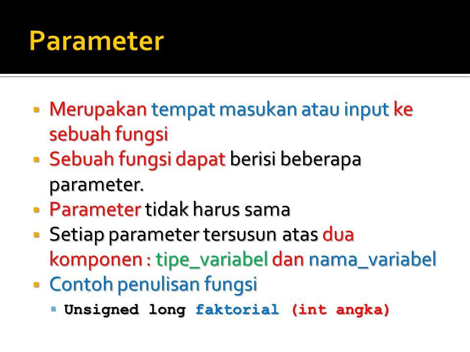  Merupakan tempat masukan atau input ke sebuah fungsi  Sebuah fungsi dapat berisi beberapa parameter.