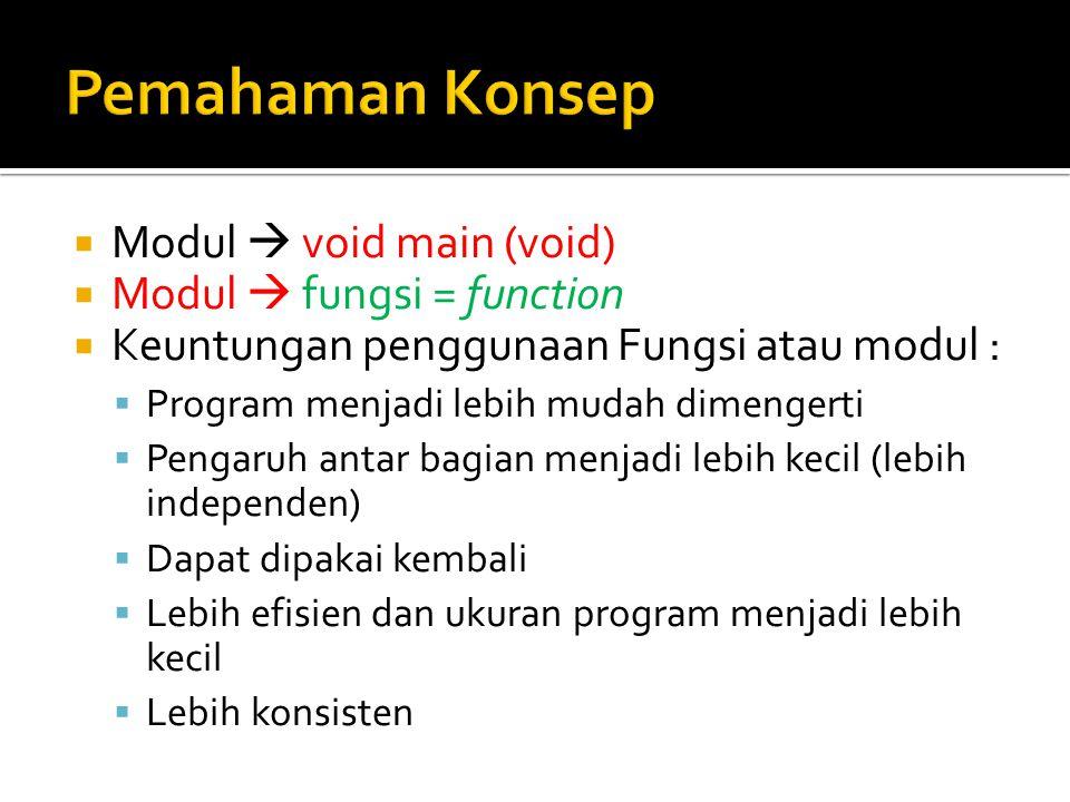  Modul  void main (void)  Modul  fungsi = function  Keuntungan penggunaan Fungsi atau modul :  Program menjadi lebih mudah dimengerti  Pengaruh antar bagian menjadi lebih kecil (lebih independen)  Dapat dipakai kembali  Lebih efisien dan ukuran program menjadi lebih kecil  Lebih konsisten
