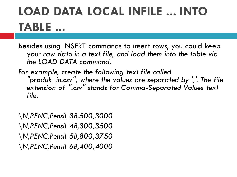 LOAD DATA LOCAL INFILE...INTO TABLE...