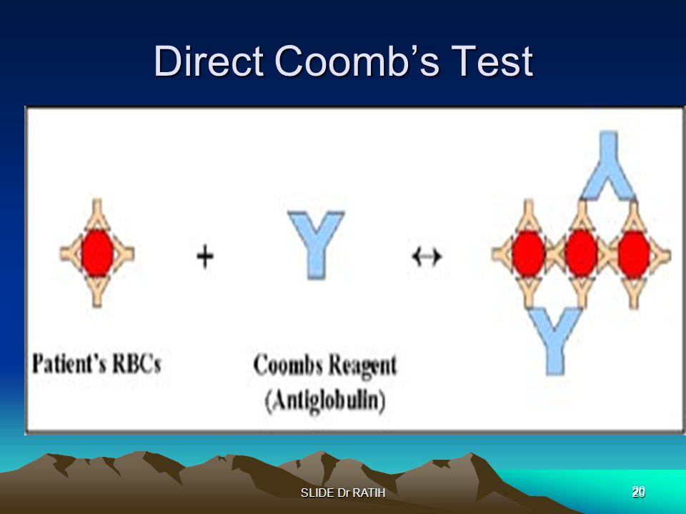 SLIDE Dr RATIH20 Direct Coomb's Test 20
