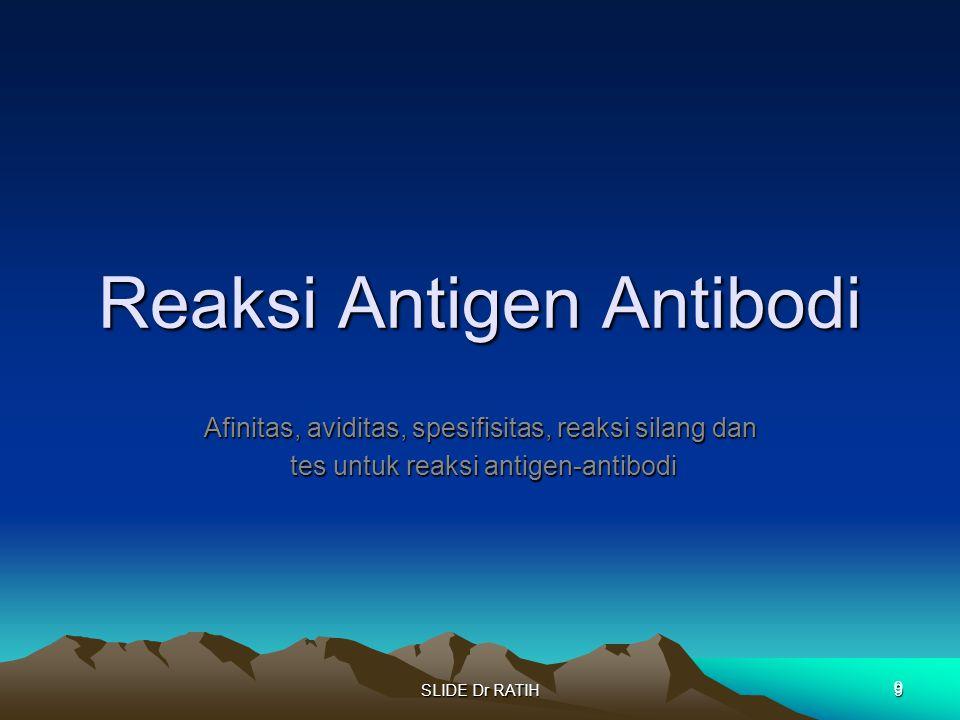 SLIDE Dr RATIH9 Reaksi Antigen Antibodi Afinitas, aviditas, spesifisitas, reaksi silang dan tes untuk reaksi antigen-antibodi tes untuk reaksi antigen