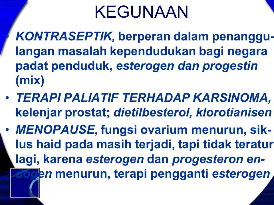 KEGUNAAN KONTRASEPTIK, berperan dalam penanggu- langan masalah kependudukan bagi negara padat penduduk, esterogen dan progestin (mix) TERAPI PALIATIF
