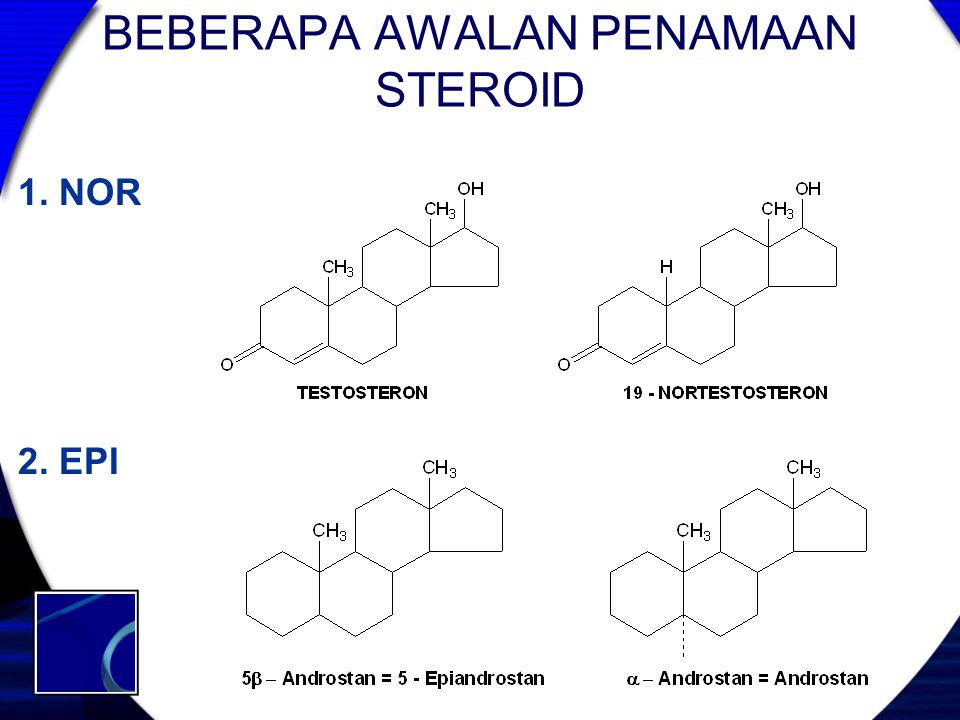 BEBERAPA AWALAN PENAMAAN STEROID 1. NOR 2. EPI