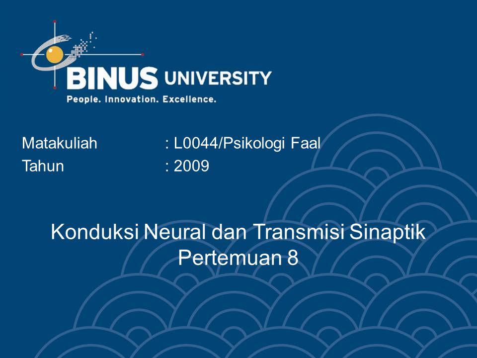 Konduksi Neural dan Transmisi Sinaptik Pertemuan 8 Matakuliah: L0044/Psikologi Faal Tahun: 2009