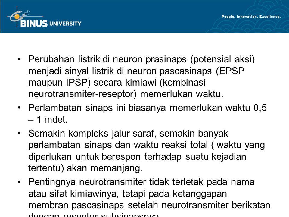 Perubahan listrik di neuron prasinaps (potensial aksi) menjadi sinyal listrik di neuron pascasinaps (EPSP maupun IPSP) secara kimiawi (kombinasi neuro