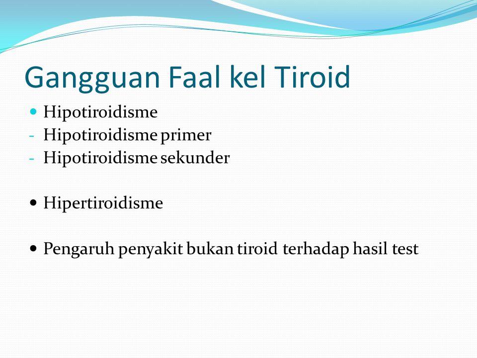 Gangguan Faal kel Tiroid Hipotiroidisme - Hipotiroidisme primer - Hipotiroidisme sekunder Hipertiroidisme Pengaruh penyakit bukan tiroid terhadap hasil test