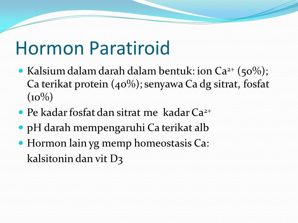 Hormon Paratiroid Kalsium dalam darah dalam bentuk: ion Ca 2+ (50%); Ca terikat protein (40%); senyawa Ca dg sitrat, fosfat (10%) Pe kadar fosfat dan sitrat me kadar Ca 2+ pH darah mempengaruhi Ca terikat alb Hormon lain yg memp homeostasis Ca: kalsitonin dan vit D3