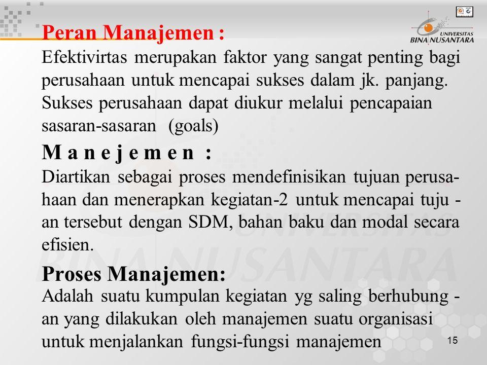 15 Peran Manajemen : Efektivirtas merupakan faktor yang sangat penting bagi perusahaan untuk mencapai sukses dalam jk.