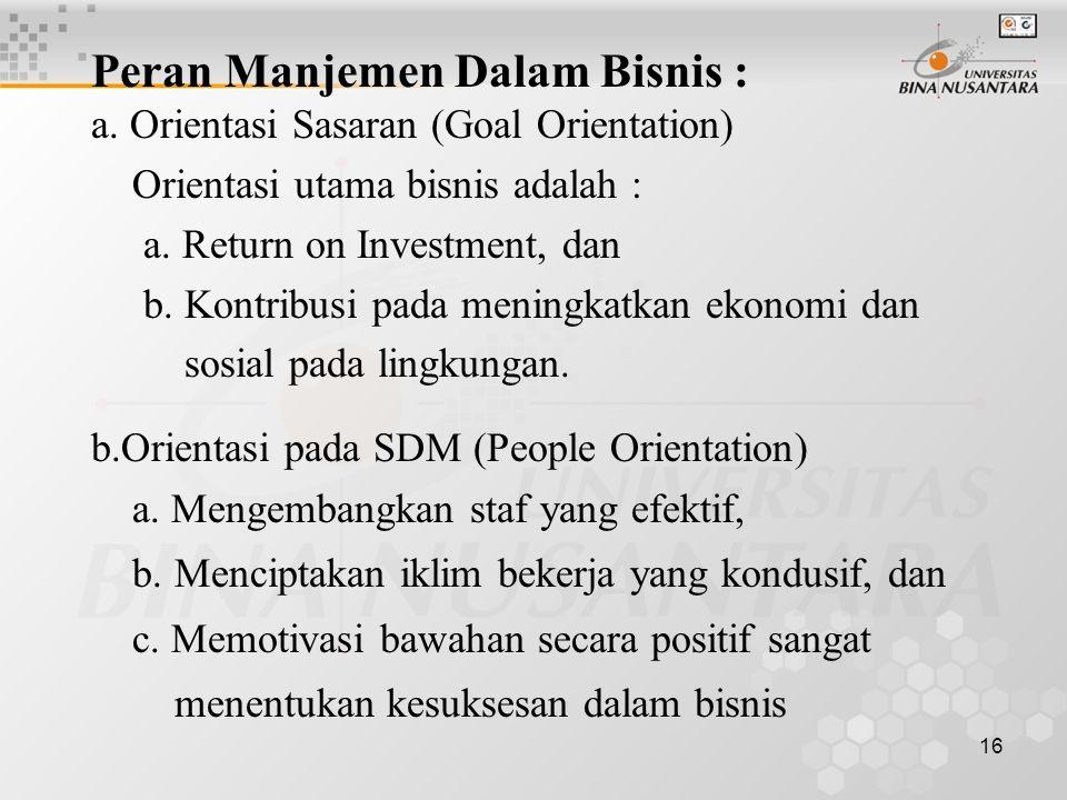 16 Peran Manjemen Dalam Bisnis : a.