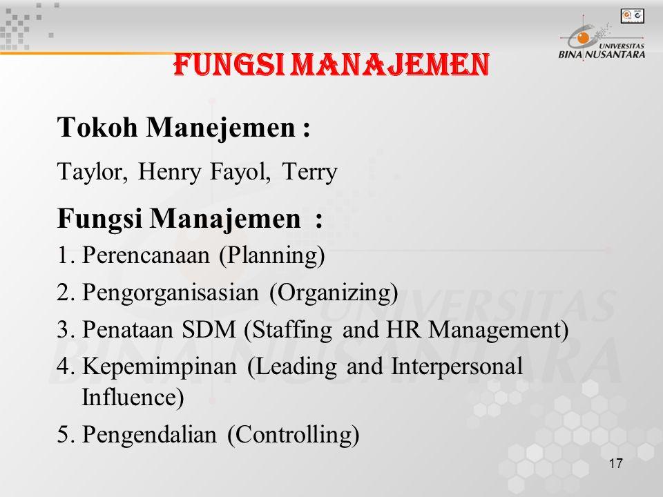 17 Fungsi Manajemen Tokoh Manejemen : Taylor, Henry Fayol, Terry Fungsi Manajemen : 1.