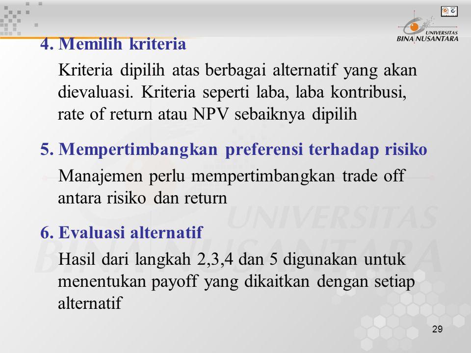 29 4.Memilih kriteria Kriteria dipilih atas berbagai alternatif yang akan dievaluasi.