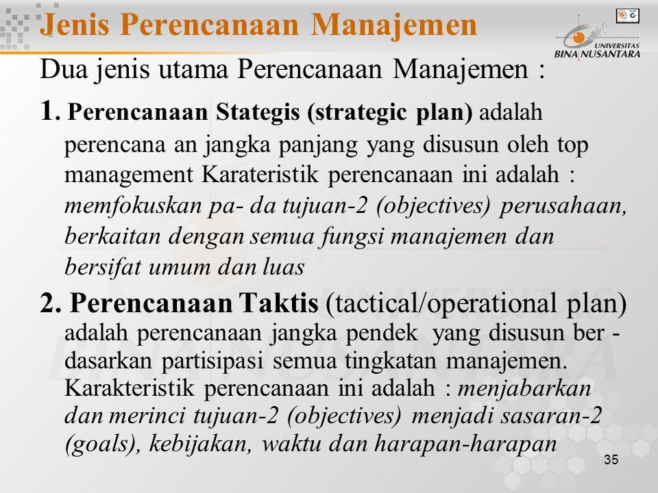 35 Jenis Perencanaan Manajemen Dua jenis utama Perencanaan Manajemen : 1.