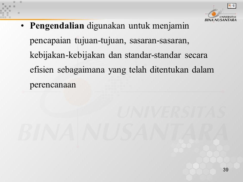 39 Pengendalian digunakan untuk menjamin pencapaian tujuan-tujuan, sasaran-sasaran, kebijakan-kebijakan dan standar-standar secara efisien sebagaimana yang telah ditentukan dalam perencanaan