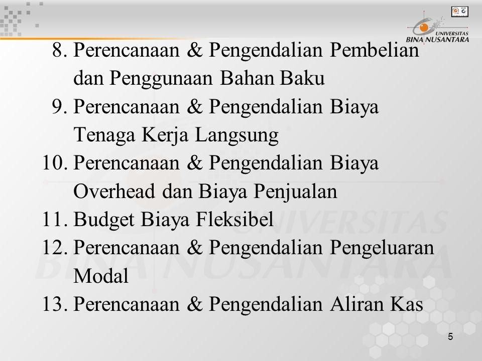 5 8.Perencanaan & Pengendalian Pembelian dan Penggunaan Bahan Baku 9.