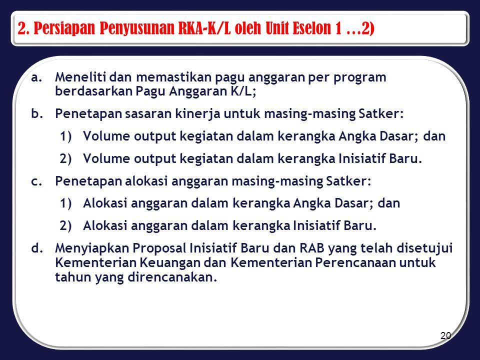 2. Persiapan Penyusunan RKA-K/L oleh Unit Eselon 1 …2) a.Meneliti dan memastikan pagu anggaran per program berdasarkan Pagu Anggaran K/L; b.Penetapan