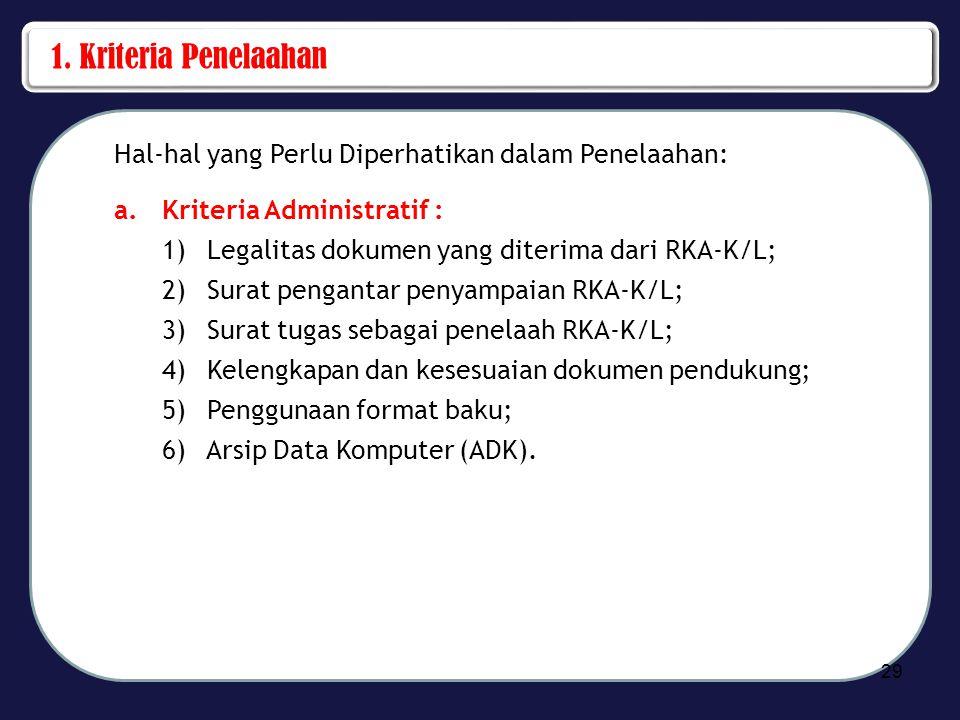 1. Kriteria Penelaahan Hal-hal yang Perlu Diperhatikan dalam Penelaahan: a.Kriteria Administratif : 1) Legalitas dokumen yang diterima dari RKA-K/L; 2