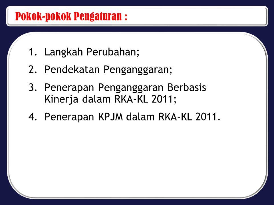 Pokok-pokok Pengaturan : 1.Langkah Perubahan; 2.Pendekatan Penganggaran; 3.Penerapan Penganggaran Berbasis Kinerja dalam RKA-KL 2011; 4.Penerapan KPJM