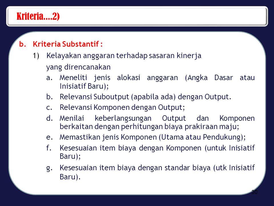 Kriteria....2) b.Kriteria Substantif : 1)Kelayakan anggaran terhadap sasaran kinerja yang direncanakan a.Meneliti jenis alokasi anggaran (Angka Dasar