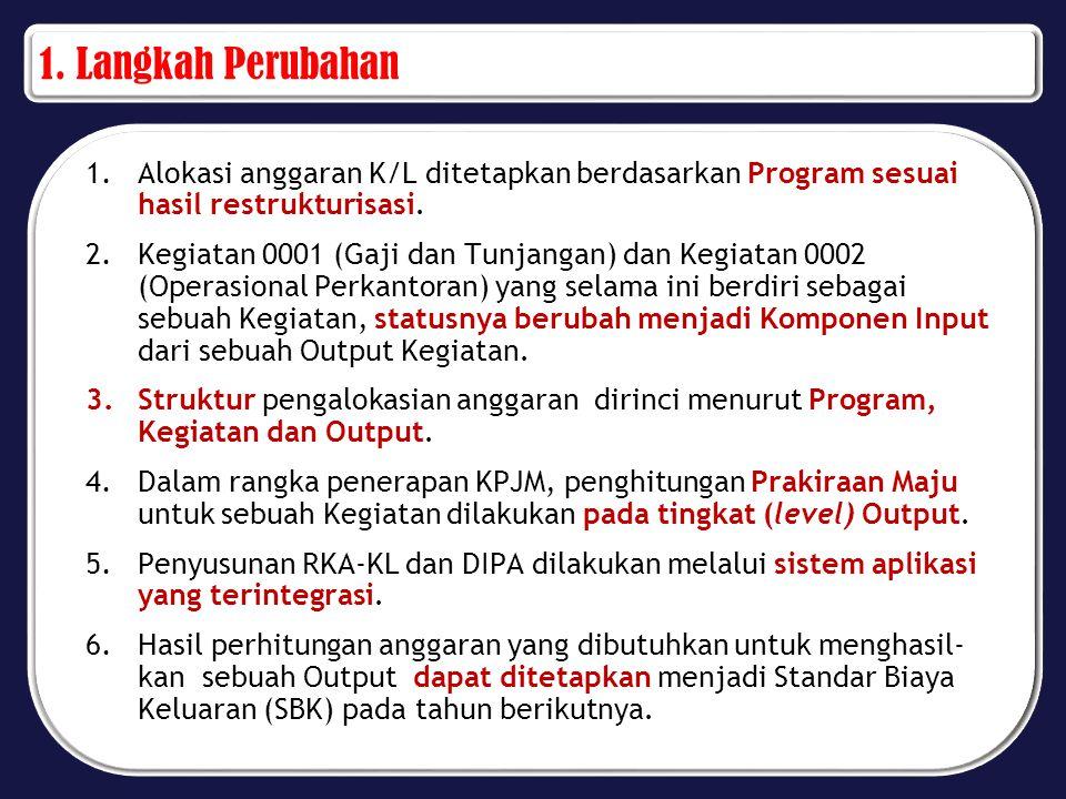 1. Langkah Perubahan 1.Alokasi anggaran K/L ditetapkan berdasarkan Program sesuai hasil restrukturisasi. 2.Kegiatan 0001 (Gaji dan Tunjangan) dan Kegi