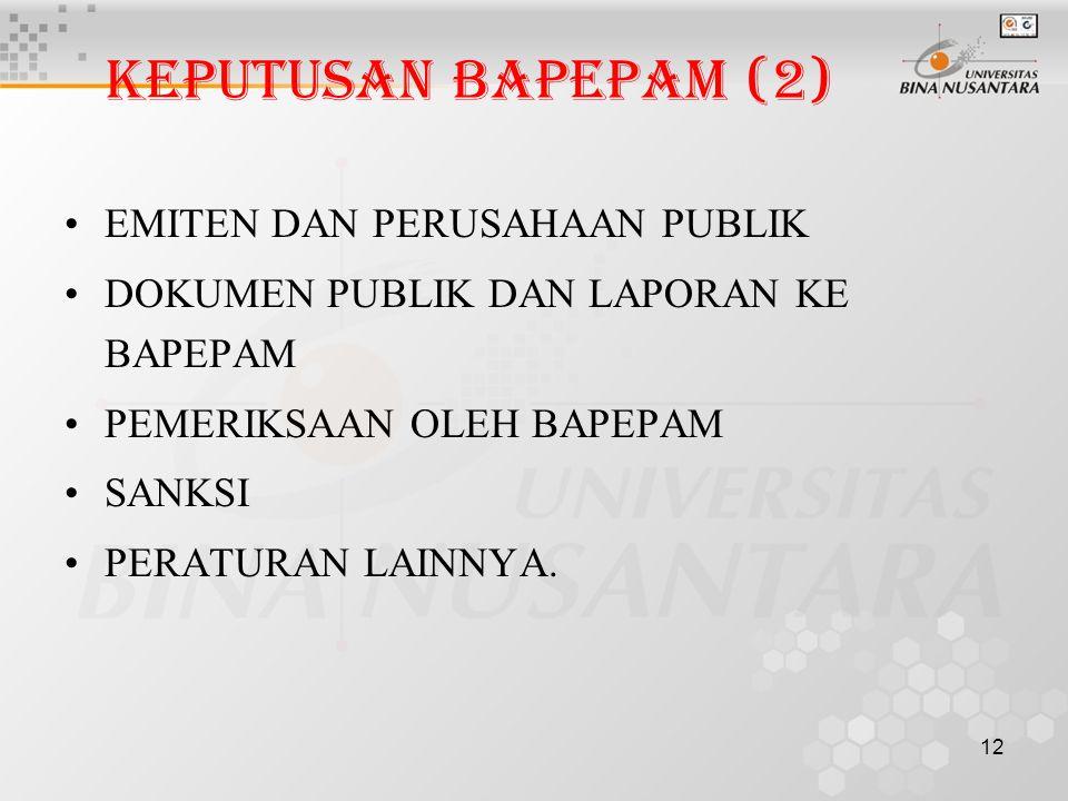 12 KEPUTUSAN BAPEPAM (2) EMITEN DAN PERUSAHAAN PUBLIK DOKUMEN PUBLIK DAN LAPORAN KE BAPEPAM PEMERIKSAAN OLEH BAPEPAM SANKSI PERATURAN LAINNYA.