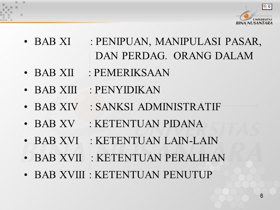 6 BAB XI : PENIPUAN, MANIPULASI PASAR, DAN PERDAG. ORANG DALAM BAB XII : PEMERIKSAAN BAB XIII : PENYIDIKAN BAB XIV : SANKSI ADMINISTRATIF BAB XV : KET