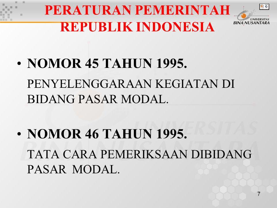 7 PERATURAN PEMERINTAH REPUBLIK INDONESIA NOMOR 45 TAHUN 1995. PENYELENGGARAAN KEGIATAN DI BIDANG PASAR MODAL. NOMOR 46 TAHUN 1995. TATA CARA PEMERIKS