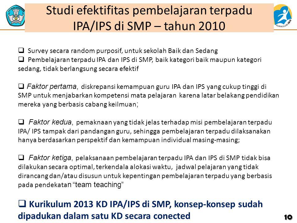 Studi efektifitas pembelajaran terpadu IPA/IPS di SMP – tahun 2010 10  Survey secara random purposif, untuk sekolah Baik dan Sedang  Pembelajaran te