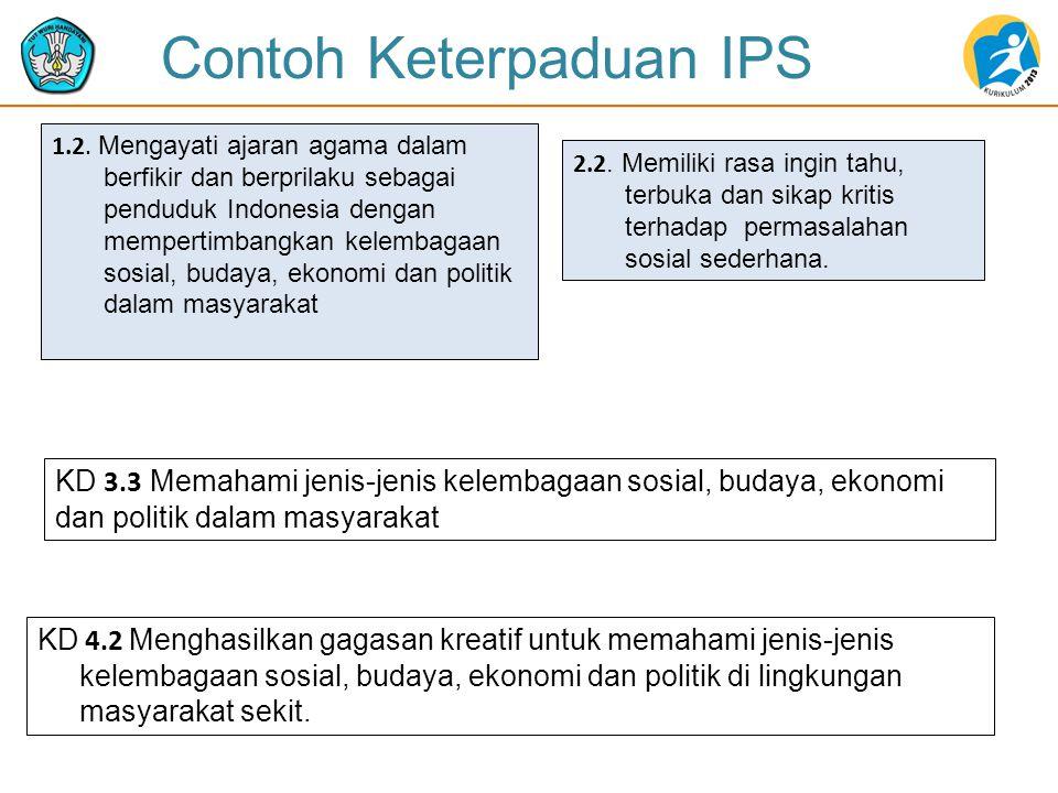 1.2. Mengayati ajaran agama dalam berfikir dan berprilaku sebagai penduduk Indonesia dengan mempertimbangkan kelembagaan sosial, budaya, ekonomi dan p