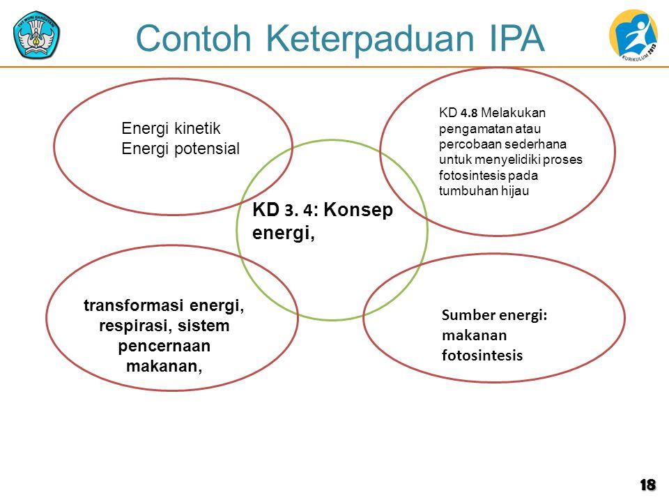 Contoh Keterpaduan IPA 18 Energi kinetik Energi potensial KD 4.8 Melakukan pengamatan atau percobaan sederhana untuk menyelidiki proses fotosintesis pada tumbuhan hijau transformasi energi, respirasi, sistem pencernaan makanan, KD 3.
