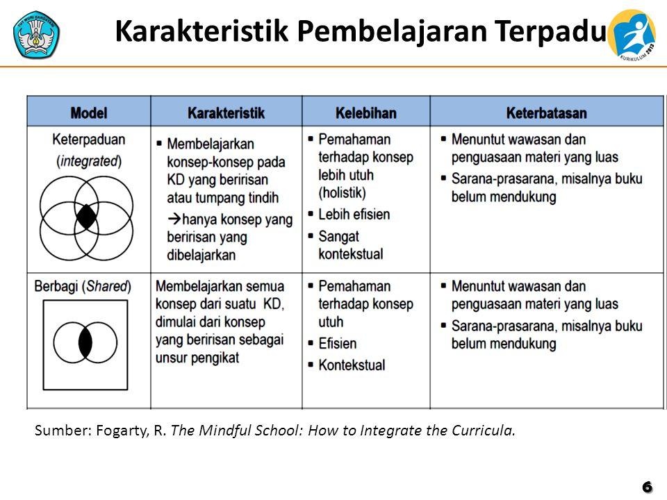 Karakteristik Pembelajaran Terpadu 6 Sumber: Fogarty, R. The Mindful School: How to Integrate the Curricula.