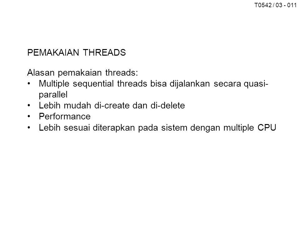 T0542 / 03 - 011 PEMAKAIAN THREADS Alasan pemakaian threads: Multiple sequential threads bisa dijalankan secara quasi- parallel Lebih mudah di-create