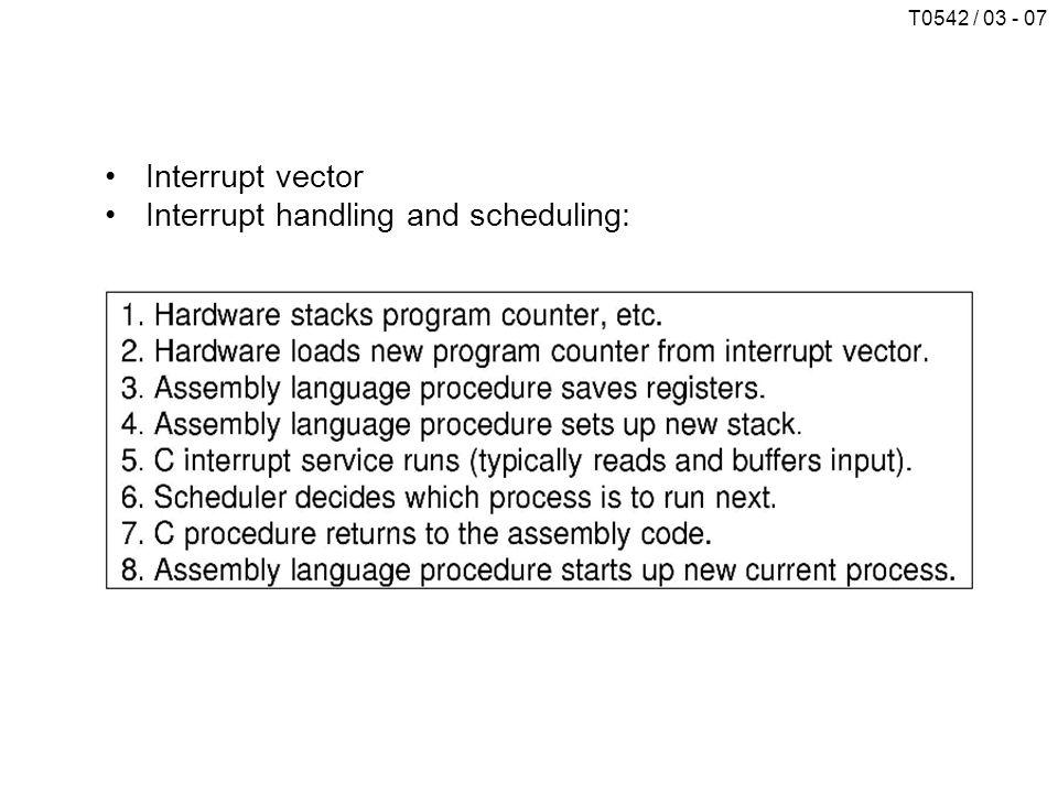 T0542 / 03 - 07 Interrupt vector Interrupt handling and scheduling: