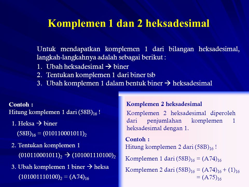 Untuk mendapatkan komplemen 1 dari bilangan heksadesimal, langkah-langkahnya adalah sebagai berikut : 1.Ubah heksadesimal  biner 2.Tentukan komplemen