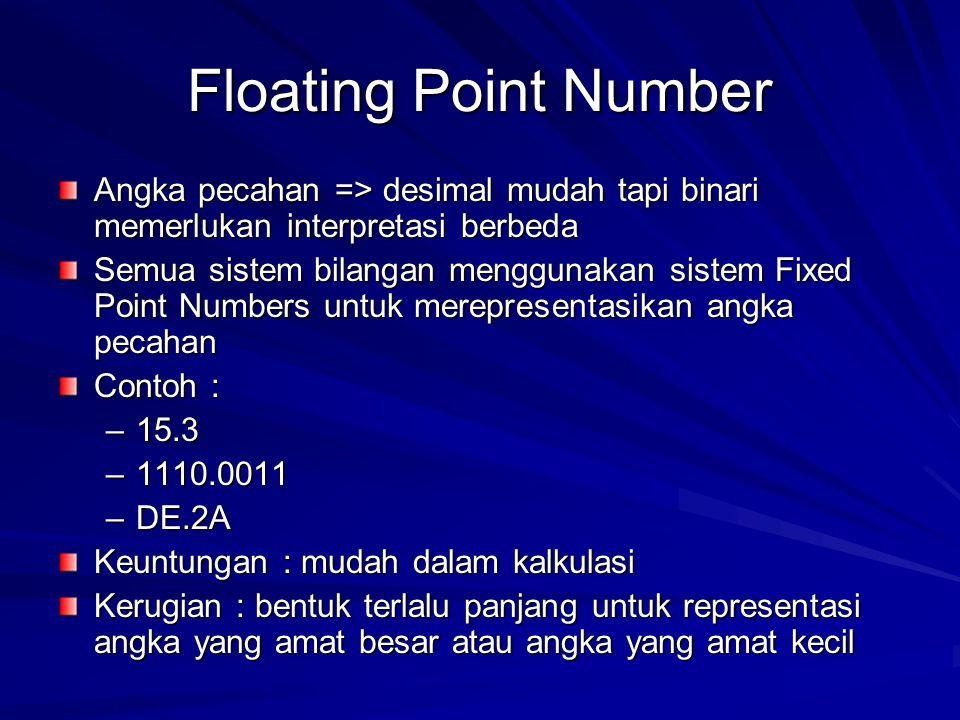 Floating Point Number Angka pecahan => desimal mudah tapi binari memerlukan interpretasi berbeda Semua sistem bilangan menggunakan sistem Fixed Point