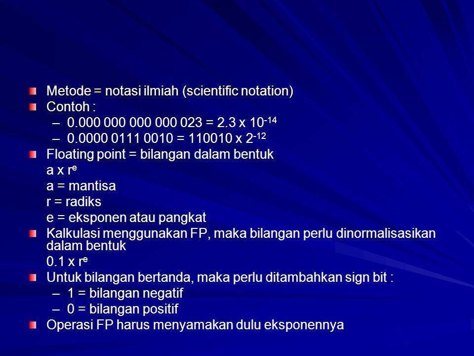 Metode = notasi ilmiah (scientific notation) Contoh : – –0.000 000 000 000 023 = 2.3 x 10 -14 – –0.0000 0111 0010 = 110010 x 2 -12 Floating point = bi