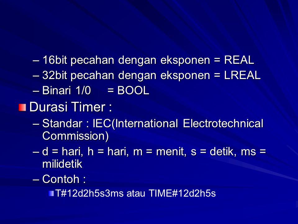 –16bit pecahan dengan eksponen = REAL –32bit pecahan dengan eksponen = LREAL –Binari 1/0= BOOL Durasi Timer : –Standar : IEC(International Electrotech