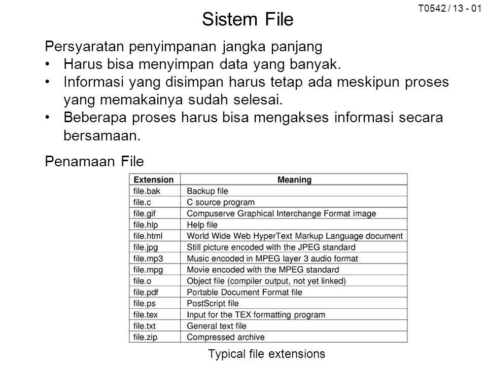 T0542 / 13 - 01 Sistem File Persyaratan penyimpanan jangka panjang Harus bisa menyimpan data yang banyak. Informasi yang disimpan harus tetap ada mesk